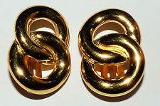 VINTAGE GIVENCHY EARRINGS CLIP ON GOLD TONE RINGS RETRO PARIS NEW YORK LARGE