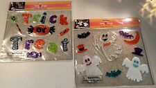 Lot of 2 Halloween window gel clings - Trick or Treat candies ghosts bats - NIP