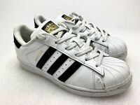 Adidas Leather Superstar Foundation White Black Low Sneakers C77153 Women's 6.5