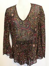 SPORTSCRAFT ~ Black Yellow Burgundy Pink Geometric Dots Beaded Boho Blouse 8
