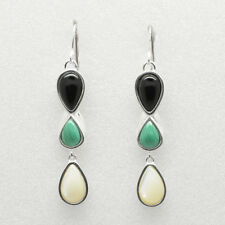 Barse Jewelry Black Onyx, Malachite and Mother of Pearl Plated Earrings