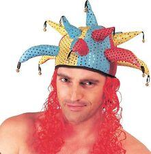 Chapeau de bouffon avec cheveux rouge, fou du roi tissu à paillettes [700046]