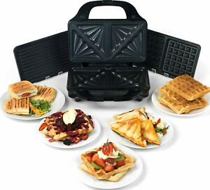 Salter Deep Fill 3 in 1 Snack Maker Waffle Pannini Toasted Sandwich changeable