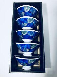 New Set Of 5 Kotobuki Rice Noodle Bowls Cobalt Blue Leaf Pattern Boxed
