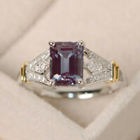 Elegant 925 Silver Jewelry Women Wedding Rings Emerald Cut Amethyst Size 5-10