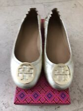 Tory Burch Gold Minnie Travel Ballet Flats With Logo, Size 6/6.5 (US 8.5)