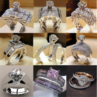 2PCS Charm 925 Silver Round Cut Sapphire Women Wedding Ring Jewelry Size 6-10