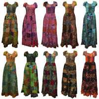 BOHO HIPPIE GYPSY VINTAGE STYLE PATCHWORK ELASTICATED SHORT SLEEVE COTTON DRESS