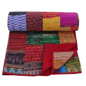 """Vintage Silk Patchwork Kantha Embroidery Single Twin Throw Bedspread 60""""x90"""""""