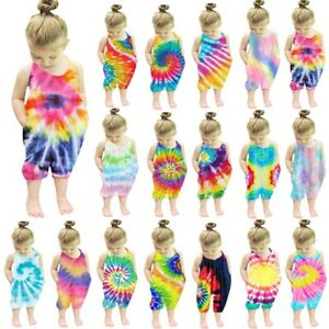 Toddler Kid Baby Girl Tie-dye Strappy Halter Romper Jumpsuit Harem Pants Outfits