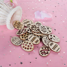 NEW 50pcs Easter Eggs Wooden Craft DIY Wood Chips Hanging Ornaments Easter Decor