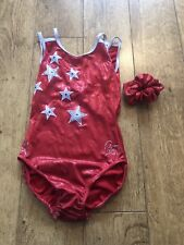 Milano Gymnastics Leotard Age 13-15 years Size 34 Red & Silver