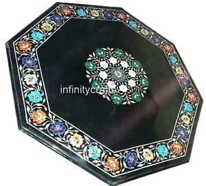 36 x 36 Inches Marble Inlay Sofa Table Top Black Coffee Table with Gemstones