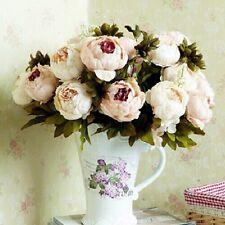 6 Flowers + 2 Buds Artificial Craft Bouquet Peony Silk Flower Home Wedding Decor