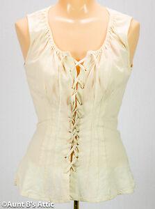 Renaissance Blouse Ladies Sleeveless Ecru Cotton Laced Front Costume Blouse