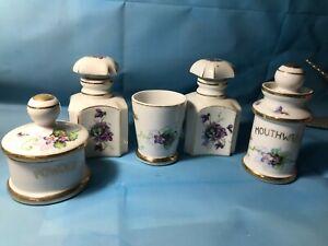 Unusual Vintage 5pc Porcelain Vanity Dresser Set - Purple Violets on White China