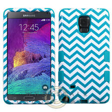 Samsung Galaxy Note 4 TUFF Hybrid Case Blue Wave/Tropical Teal Cover Shell Case