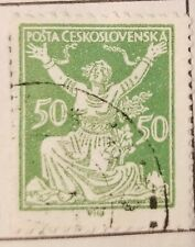 Rare Czechoslovakia Chainbreaker 50h Green Imperforated 1920 Stamp