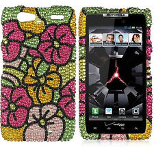 Motorola DROID RAZR MAXX Crystal Diamond BLING Case Phone Cover Hawaii Flowers
