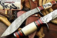 Custom Hand Made Damascus Steel Blade Laser Etched Kukri Knife | Camel Bone