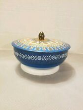 """Tin Blue Fancy Decor Candy Biscuit with Lid Container 7"""" VTG"""