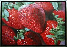 Henri Gautier *1955: Erdbeere, Ölmalerei auf Leinwand 60 x 90 cm Hyper-Realismus