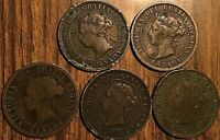 LOT OF 5 VICTORIA CANADA LARGE CENT PENNY LOT OF 5 COINS