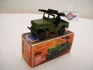 Matchbox Superfast, Nr.38, Jeep Armoured mit MG, olivgrün, 1976, (England)
