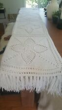 Vtg White Fringed Afghan Crotchet Blanket - Large