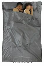 TREKSILK Double GREY Sleep Sack Silk Sleeping Bag Liner Hostel Couple Gap Year