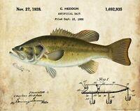 Heddon Fishing Lure Patent Print Vintage Largemouth Bass Fish Cabin Art Decor