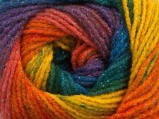 100gr Magic Glitz 48182 Orange Yellow Blue Opal Metallic SelfStriping DK Yarn