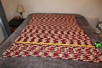 """Vintage Afghan Multicolor Crochet Blanket Handmade Throw ~ 40"""" X 58"""""""