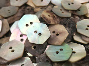 """50 REAL NATURAL PEARL SHELL HEXAGON SHAPE BUTTONS 5/8"""" 16MM 2hole"""