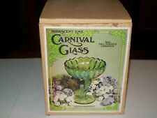 IRIDESCENT LIME - CARNIVAL GLASS - TALL FOOTED COMPOTE / INDIANA GLASS CO.