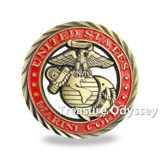 USMC Challenge Coin Creed of Marines Red Painted Bronze Military Badge Gift Coin