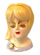 Head Vase Lady Girl Japan Gold Eye Lashes Blue Dress Flower Vintage VGC