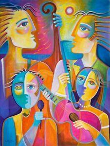 Cubism oil painting Marlina Vera Art Music Jazz Quartet large expressionist big
