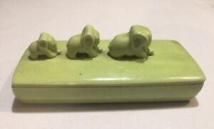 "Royal Haeger Green Elephants on Covered Divided Box 8"" Trinket Dresser Candy"