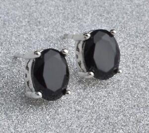SILVER BLACK SAPPHIRE EARRINGS EARTH MINED STONES