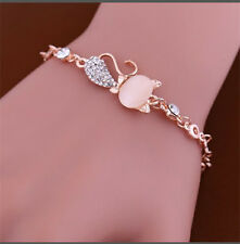 Women Ladies Crystal Rhinestone Bangle Gold Plated Bracelet Chain Opals Jewelry