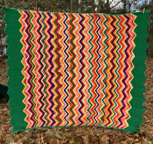 "Afghan Handcrafted Bright Rainbow Colors Full Size 66' x 86"" Wavy Zigzag Pattern"