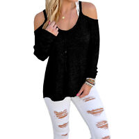 Womens Cut Out Cold Shoulder Jumper 14 Long/Sleeve/Casual/Top/Ladies/Sweater/NEW
