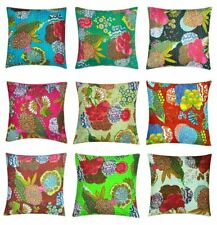 10 PC Indian Cotton cushion cover Handmade Kantha work Fruit Print pillowcase