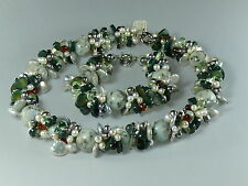 Ching Hai Jade Mother-of-pearl Designer Necklace & Bracelet Gemstones GREEN