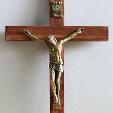 "Wall Crucifix Wood Brown 11"" Bronze Christ Handmade USA Cross Crucifijo Catholic"