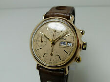 Vintage Herren Armband Uhr Bulova Chronograph valjoux 7750 Gold Double
