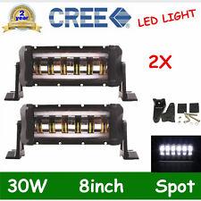 "2X 8"" 30W LED Light Bar DRL Driving Fog Halo Angle Eyes Jeep Wrangler Offroad US"