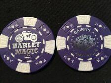 "Harley Poker Chip Golf Ball Marker Purple/White ""Harley Magic"" Cairns Australia"