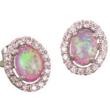 Purplish Pink Fire Opal 5x7mm Oval Cabochon Silver Jewellery CZ Stud Earrings